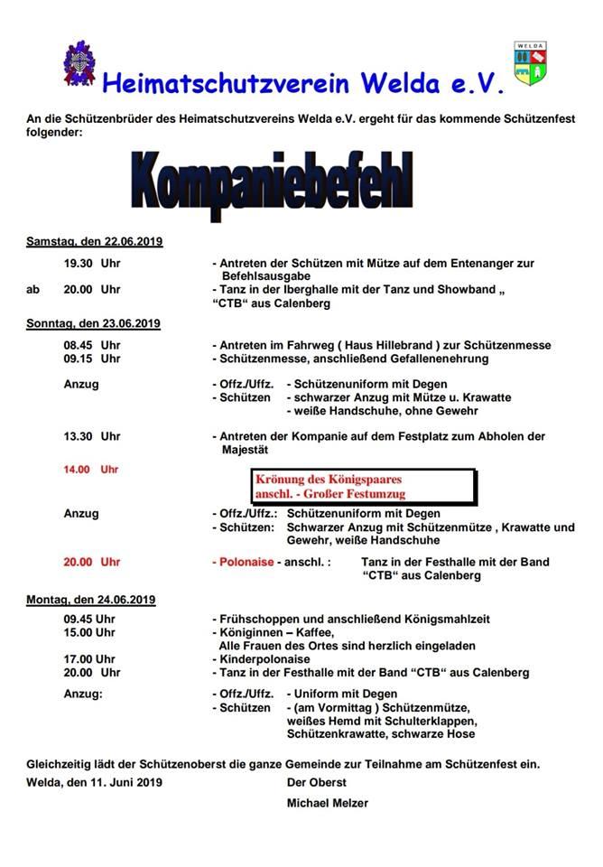 Kompaniebefehl Schützenfest 2019